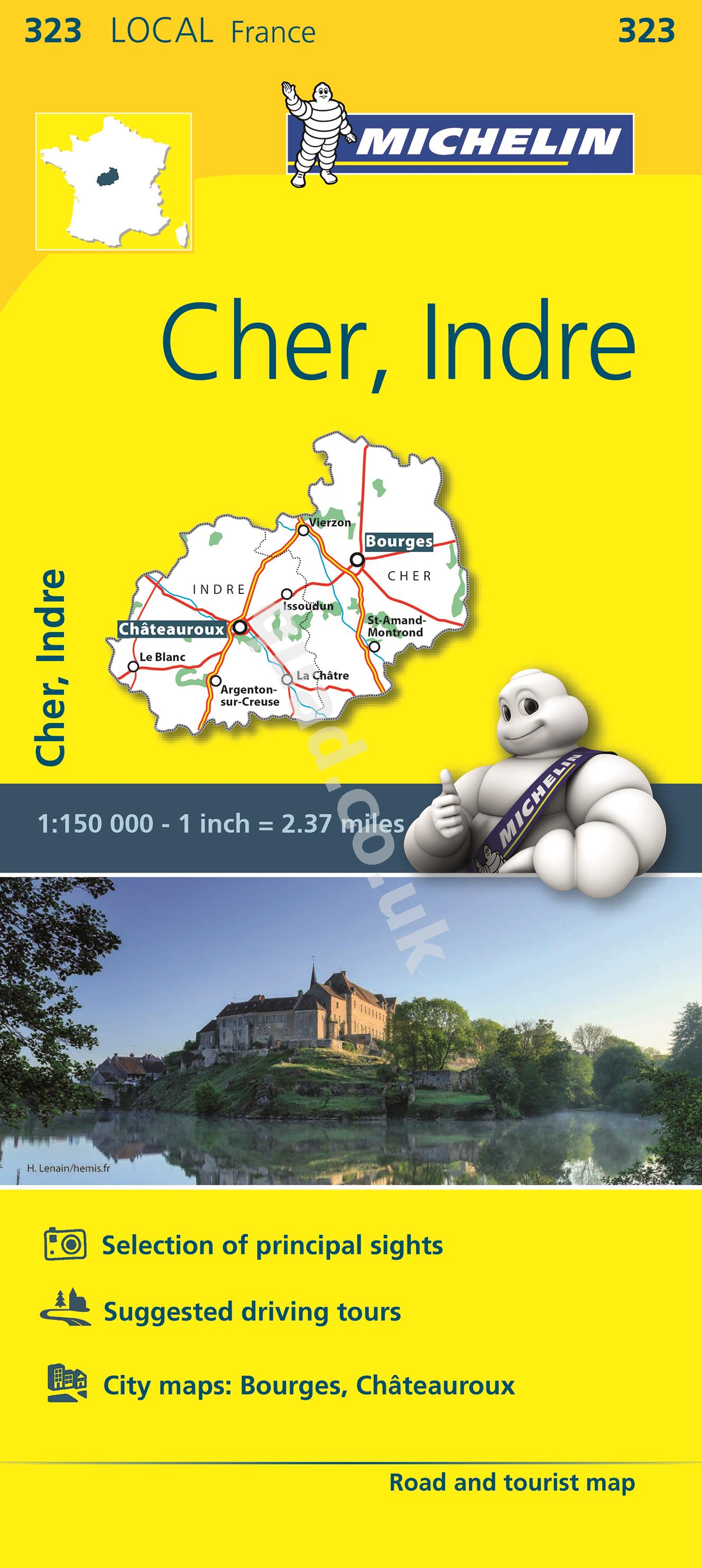 Michelin  Local Map - Cher, Indre (France)