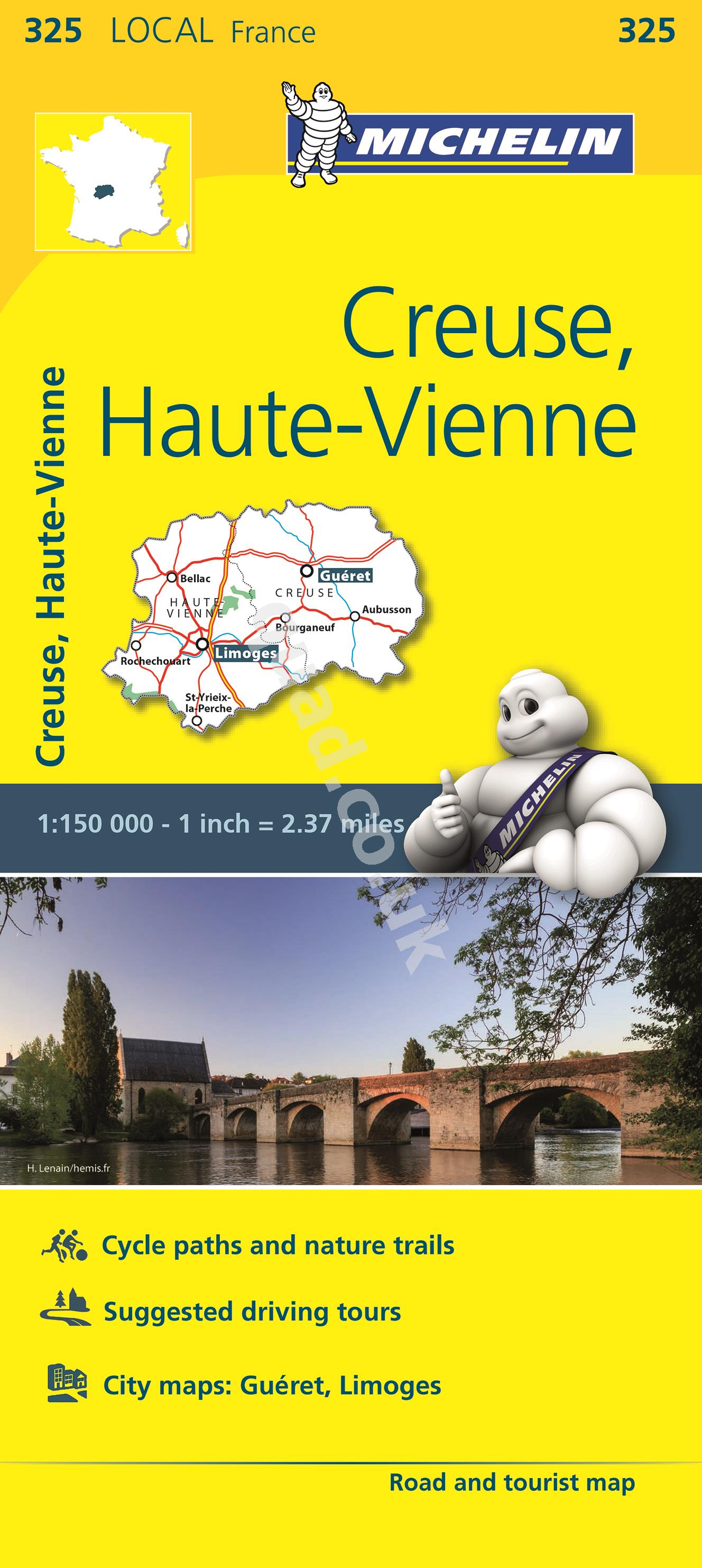 Michelin  Local Map - Creuse, Haute-Vienne (France)